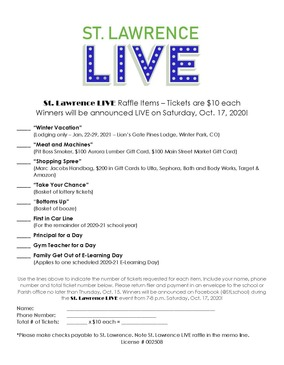 St. Lawrence Live Raffle Ticket Form