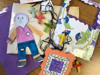 Our young parishioners' artwork - priceless gifts for the homebound!