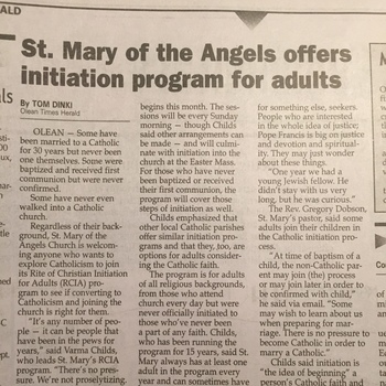 St. Mary of the Angels offers initiation program for adults