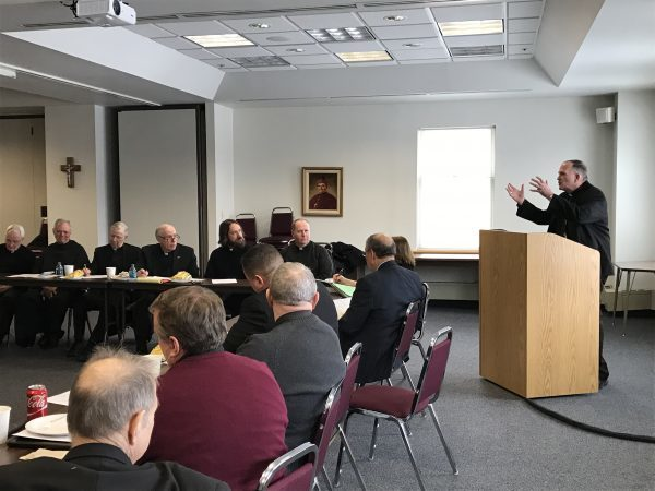 Bishop David M. O'Connell, C.M., presents his decisions to the Presbyteral Council regarding Faith in Our Future on Jan. 10 in the Diocesan Chancery, Lawrenceville. The council unanimously voted to endorse the decisions. Brittany Wilson photo