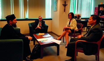 Bishop meets with granting agency