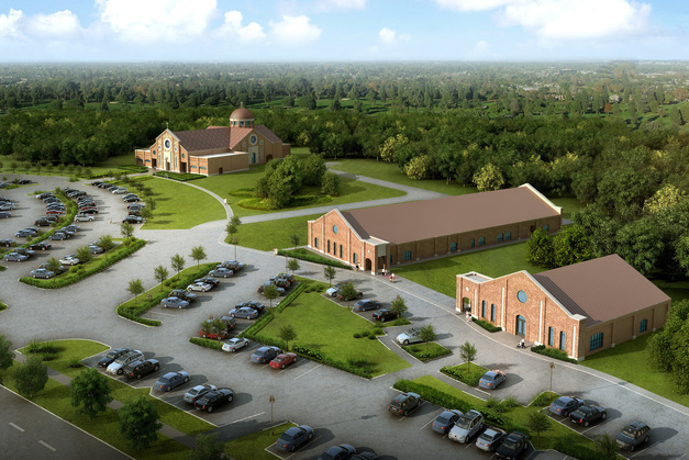 Aerial View of new Buildlings for St. Angela Merici in Missouri City, TX