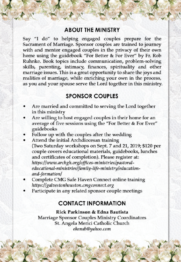 Marriage Sponsor Couples Ministry