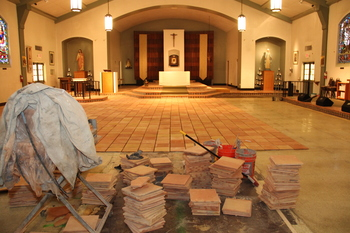 Church Flooring Project Has Begun
