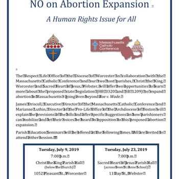 OPPOSE ABORTION EXPANSION INFO SESSION JULY 23 WEBSTER