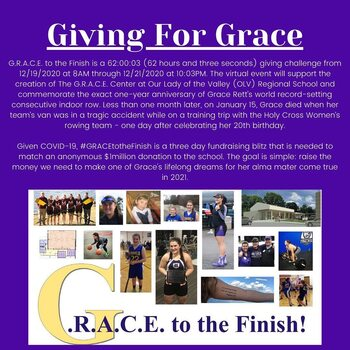 OLV GRACE TO THE FINISH FUNDRAISER FOR GRACE RETT DEC. 19 WEEKEND
