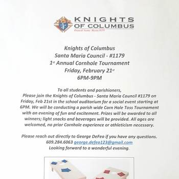 Knights of Columbus 1st Annual Cornhole Tournament