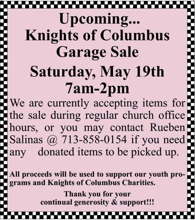 KC Garage Sale :: St  Mary of the Immaculate Conception Catholic
