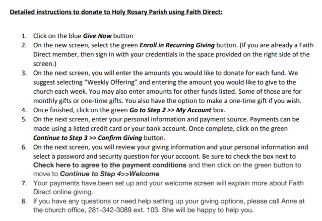 Online Giving Instructions through Faith Direct