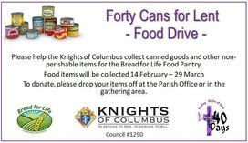 Forty Cans for Lent- Food Drive