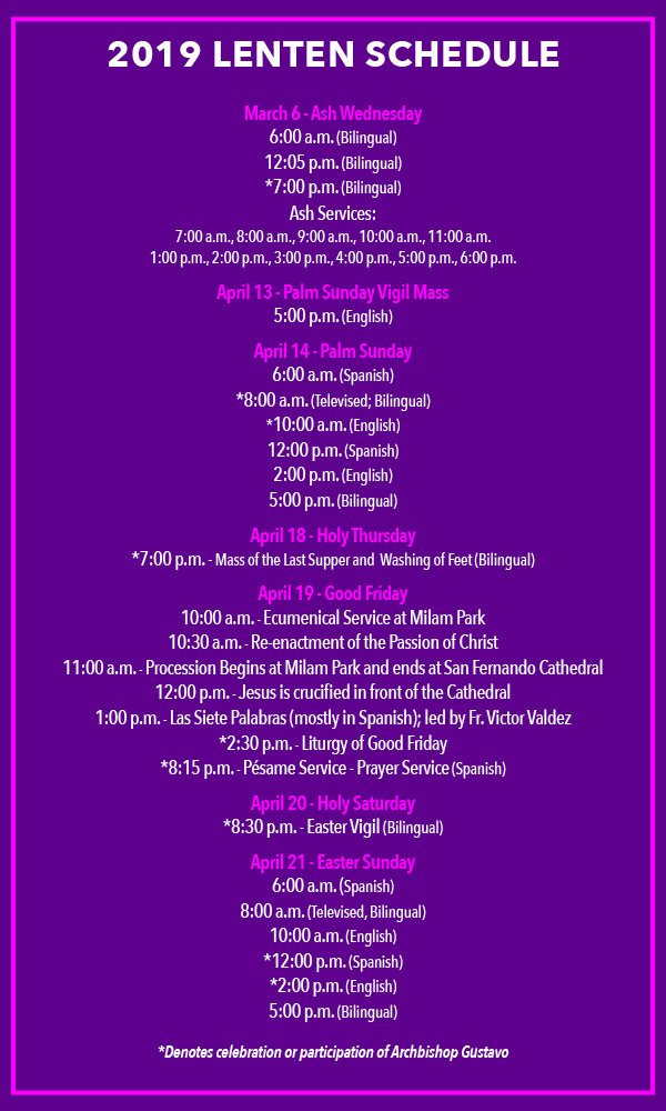 2019 Lenten Schedule for San Fernando Cathedral