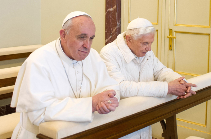 Pope Francis with Pope Benedict XVI