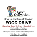Food drive for CAC - 10 AM to 2 PM
