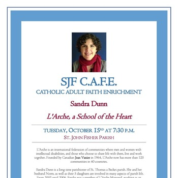 C.A.F.E. - L'Arche, a School of the Heart - Tues., Oct. 15 at 7:30 p.m
