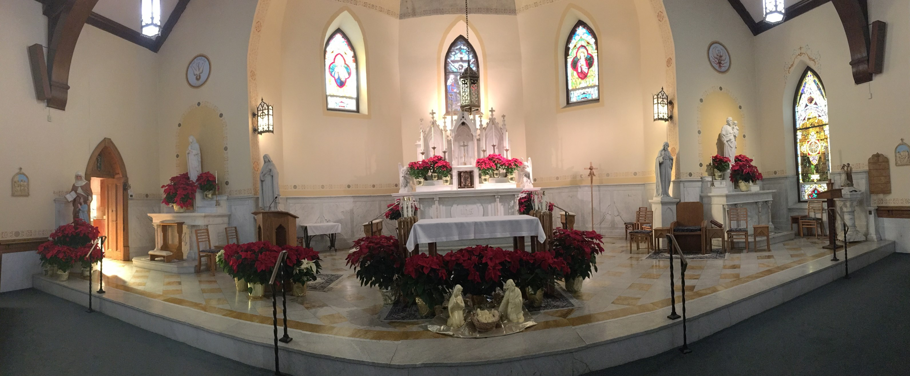 Fish-eye view of the altar at Christmastime