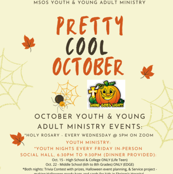 Youth and Young Adult Ministry Events for October