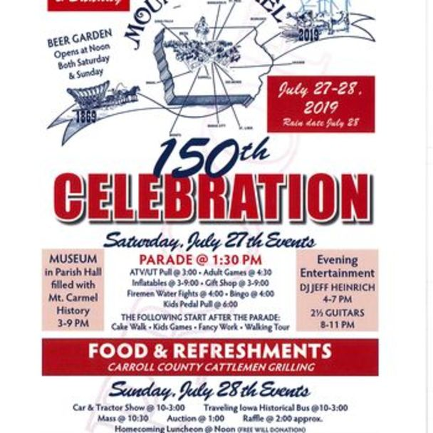 150th Celebration: July 27-28 @ Mount Carmel