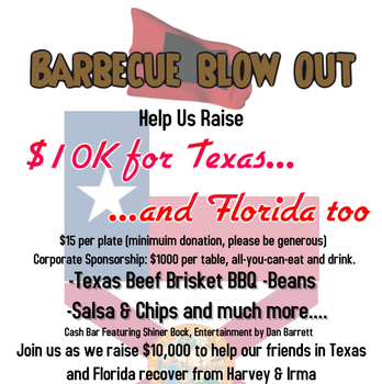 BARBECUE BLOW OUT to Raise $10k for TEXAS & FLORIDA Hurricane Victims