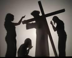 Youth Group Performs Stations of the Cross in Silhouette