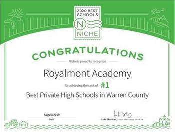 Royalmont Academy named the #1 Private High School in Warren County Ohio!