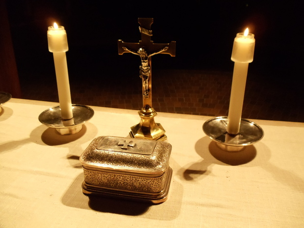 Silver box on the Altar