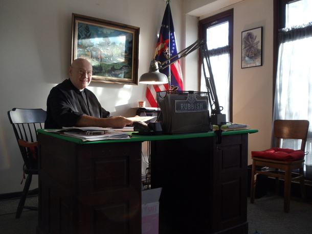 Brother Sixtus Roslevich in his office