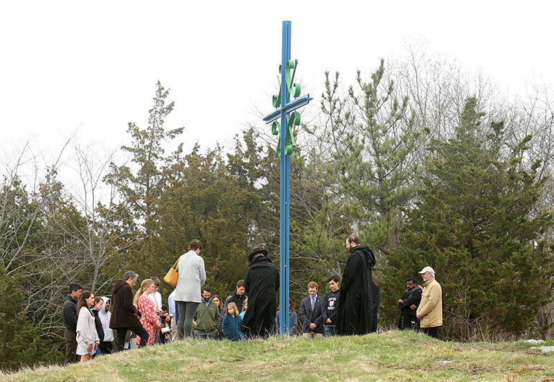The extended community praying the Stations of the Cross