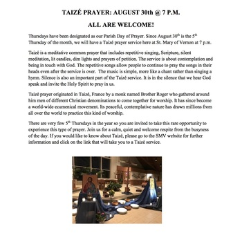 Taize Prayer at SMV - More Info