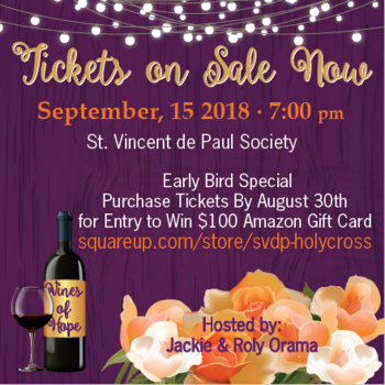 St. Vincent de Paul Vines of Hope Sept 15th 7:00 pm