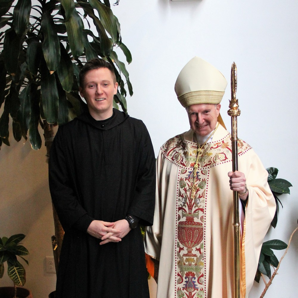 A proud Abbot Richard and the newly-professed Br. William pause after the liturgy.