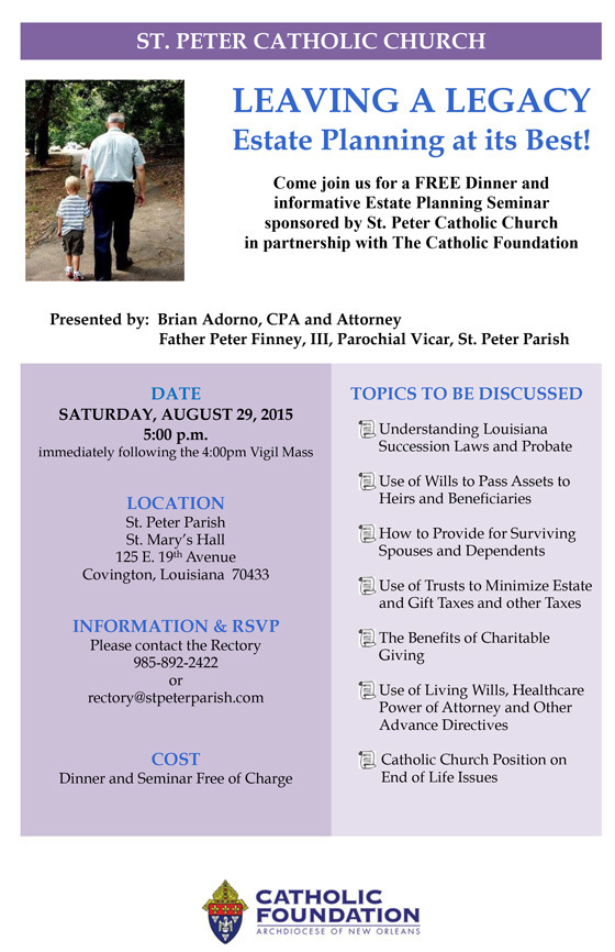 Estate Planning Seminar  St Peter Catholic Church  Covington La
