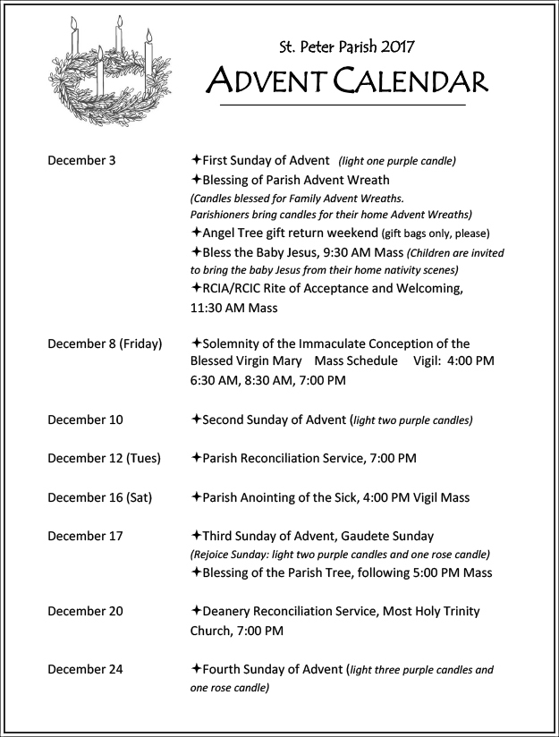 Advent and Christmas Mass Schedules and Confession Times