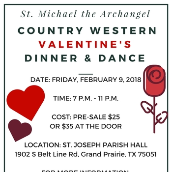 St. Michael Country Western Valentine's Dinner & Dance February 9