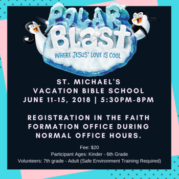VACATION BIBLE SCHOOL JUNE 11-15 REGISTRATION OPENS APRIL 22ND
