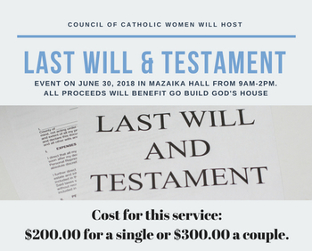 Last Will & Testament Services Saturday!