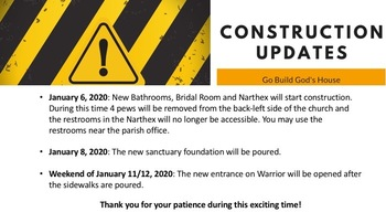 Construction Updates for the New Year