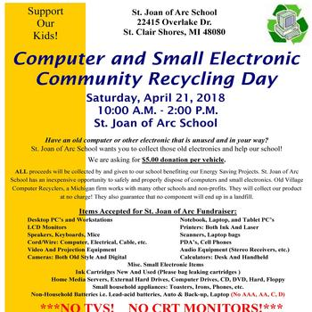 April 21 - Annual SJA Electronics Recycling Event