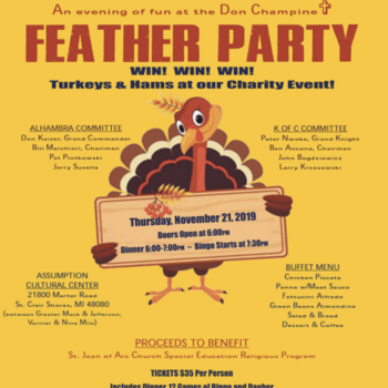 Nov 21 Feather Party to benefit Exceptional Needs Program