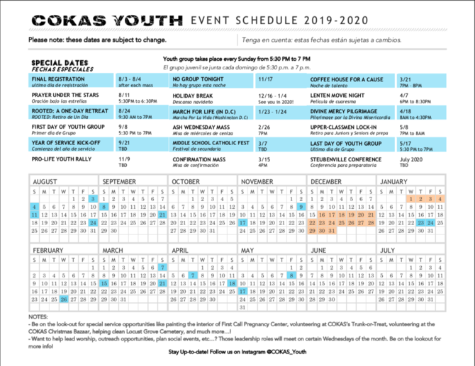 COKAS Youth Event Schedule 2019-2020