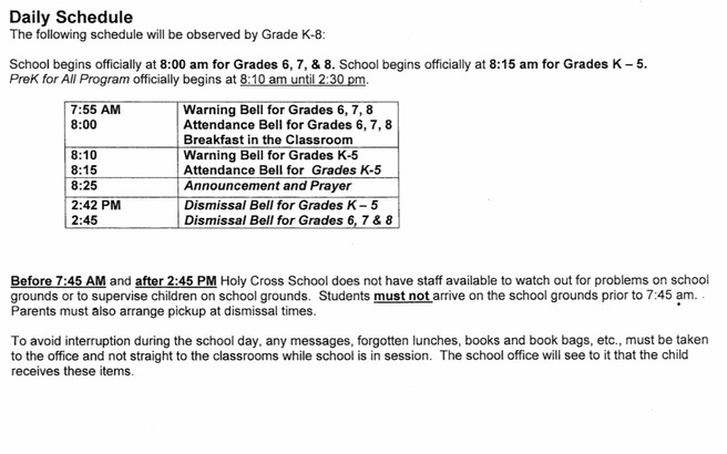 Daily Schedule - Holy Cross School - Bronx, NY