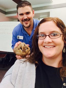 Sarra Jackson poses with armadillo from the Houston Zoo.