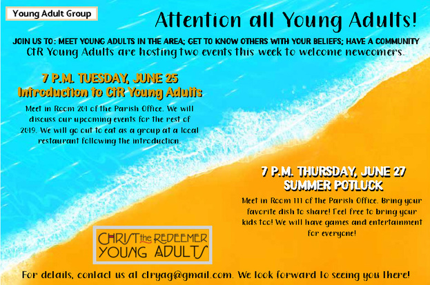 Young Adult Group Summer Events