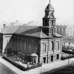 A view of St. James and the burial grounds on the north and south sides of the church, 1948. Courtesy Brooklyn Public Library