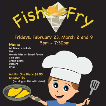 Fish Fry ** February 23, March 2 and 9**