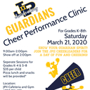 Cheer Performance Clinic for grades K-8th Sat. Mar 21 9-2pm