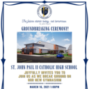 GYMNASIUM GROUNDBREAKING AND CAR RAFFLE DRAWING! TUES, MAR. 16, 2021 at 1PM