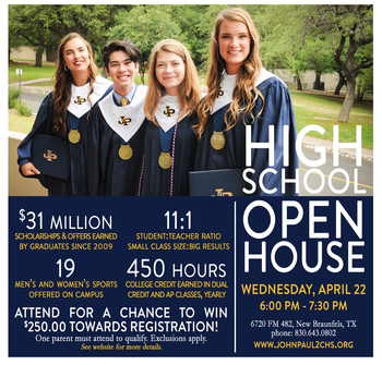 OPEN HOUSE APRIL 22, 2020 6-7:30 PM (POSTPONED)