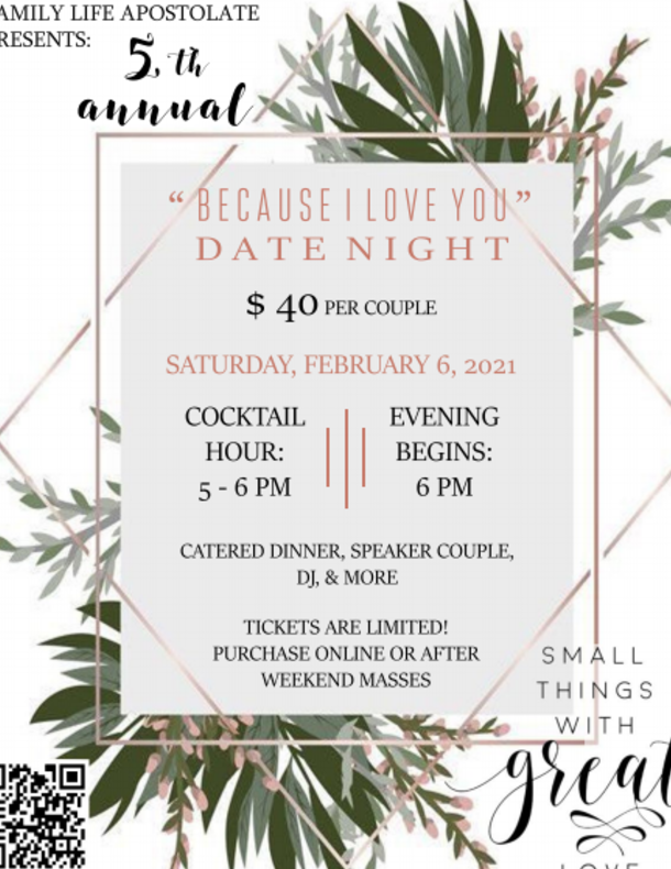 Couples' Date Night at St. Anthony - Feb. 6 - Click below to register