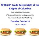 ANOTHER 8TH GRADE BURGER NIGHT THIS THURSDAY!