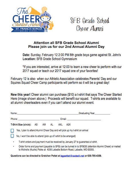 2Nd Annual Grade School Cheer Alumni Day! - St. Francis Borgia